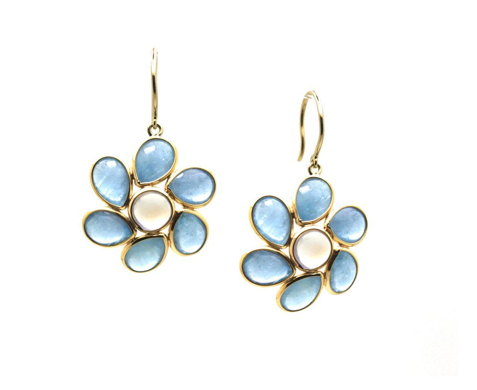 Aquamarine and Rainbow Moonstone Flower Earrings in 18k Yellow Gold