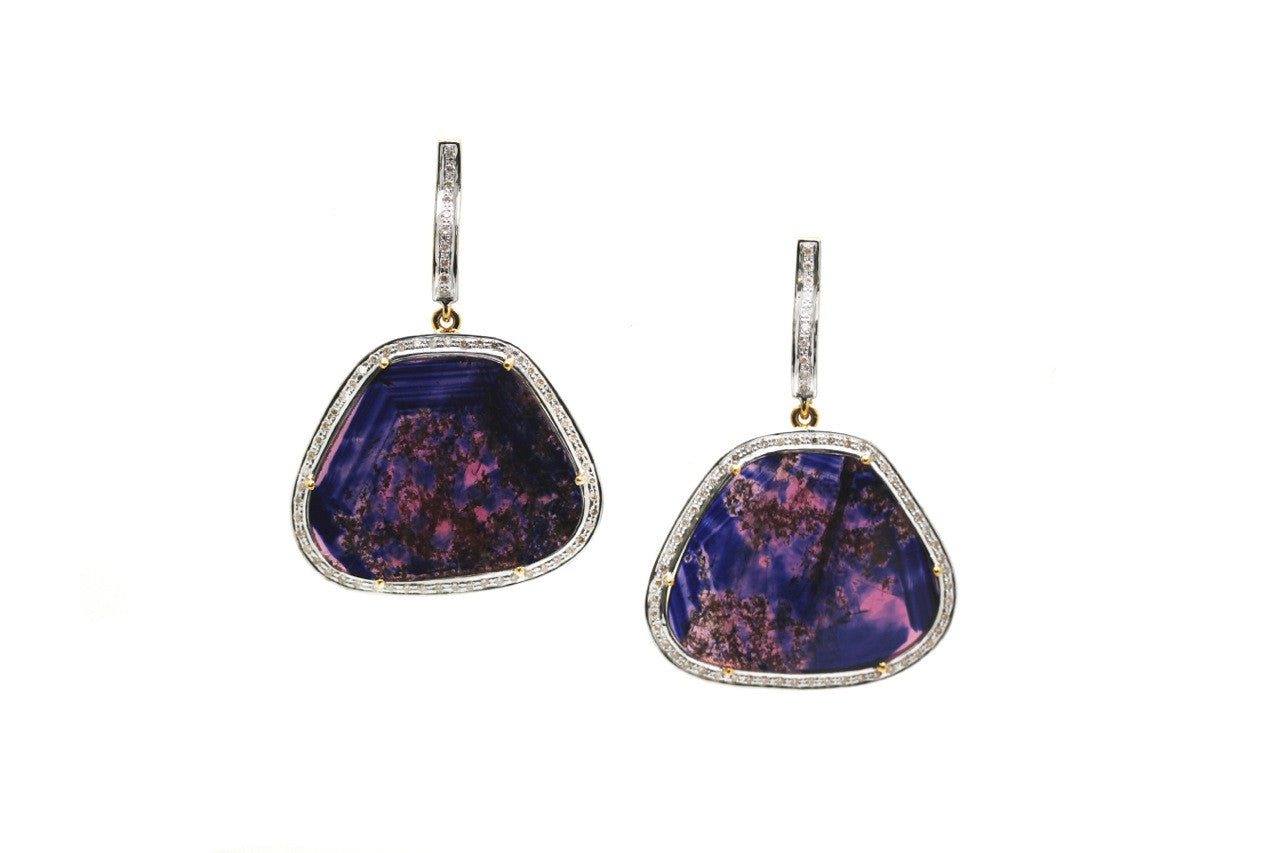 Sapphire Slice and Diamond Earrings in 18k Yellow Gold
