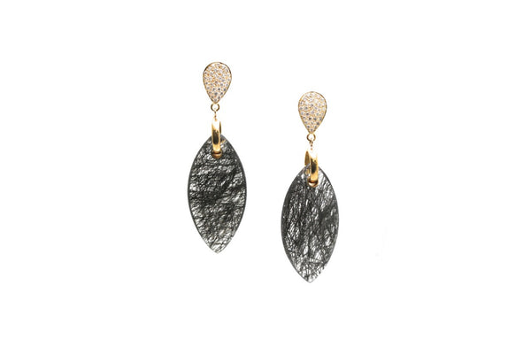 18Kt Gold Earring With Pave Diamond and Black Rutile Marquise Drops