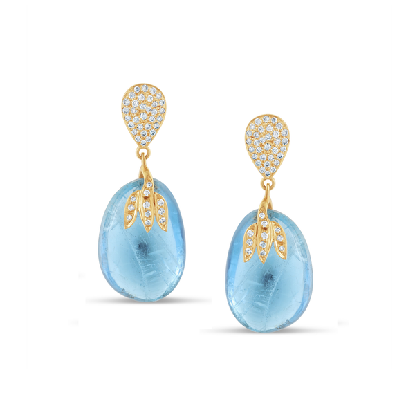 18Kt Gold Earring With Pave Diamond and Aquamarine Nugget Drops with motif