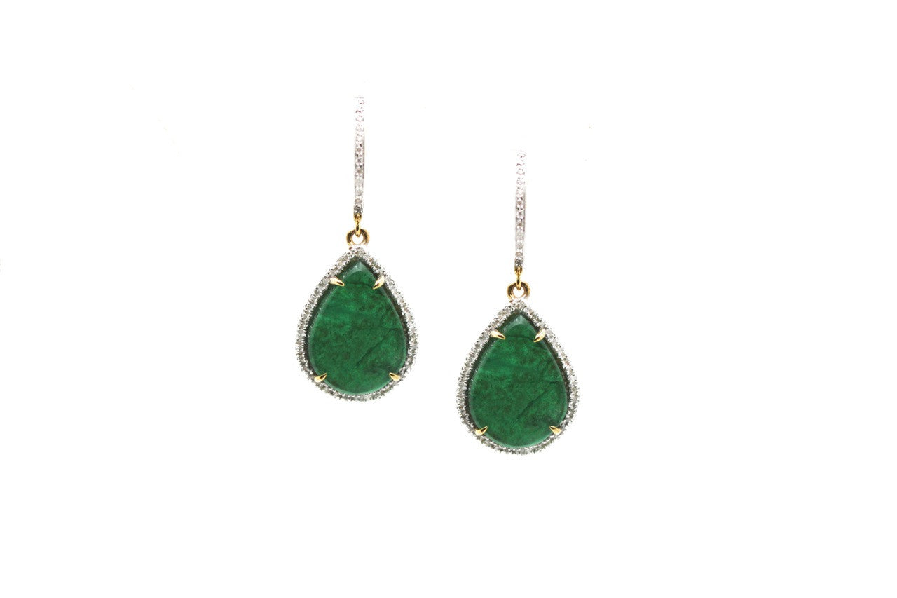 18K Yellow Gold Earring With Emerald Slice & Diamond
