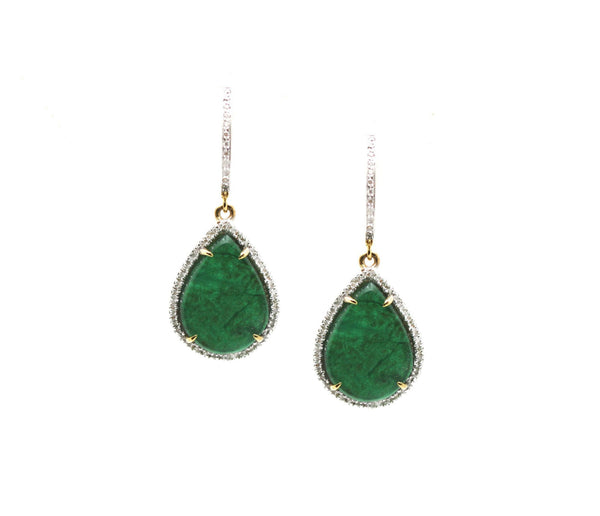 Emerald P/s & Diamond Earring In 18k Yellow Gold