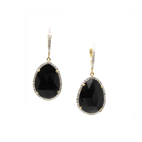 Black Spinel U/S & Diamond Earring in 18k Yellow Gold
