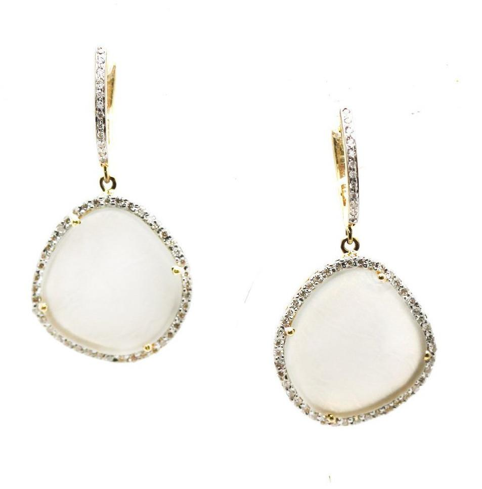 White Moonstone & Diamond Earring in 18k Yellow Gold