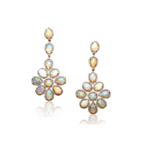 18K Yellow Gold Earring With Ethiopian Opal & Diamond