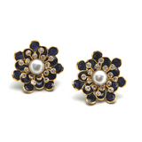 Blue Sapphire, White Sapphire and Pearl Flower Stud Earrings in 18k Yellow Gold