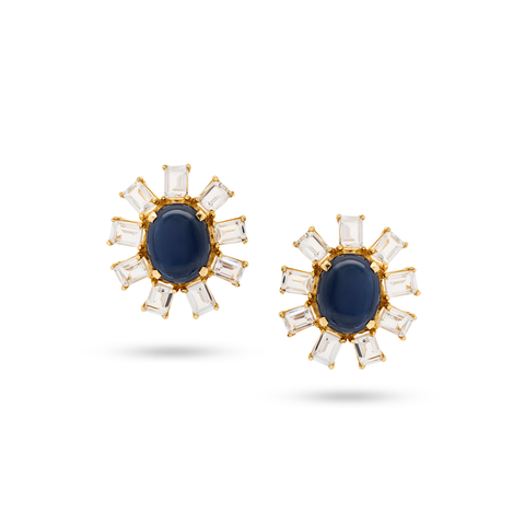 Blue Sapphire & White Sapphire Stud Earrings in 18k Yellow Gold