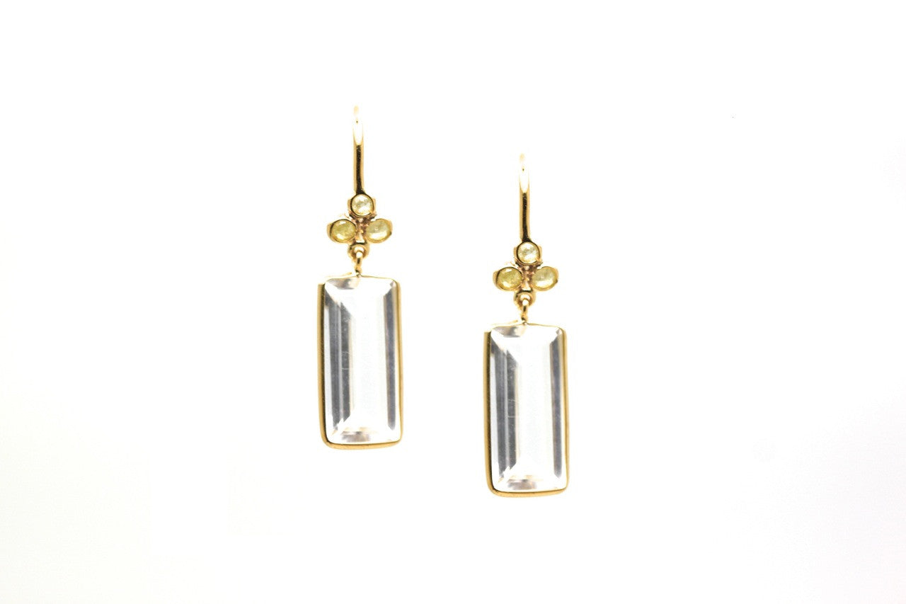 18K Yellow Gold Earring With Crystal Quartz and Champagne Diamond