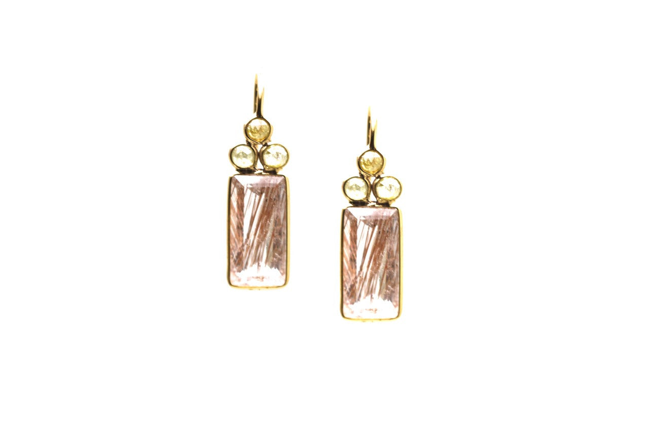 18k YG Earring With Champagne Diamond & Copper Rutile