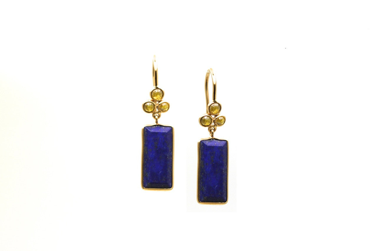 18K Yellow Gold Earring With Lapis and Champagne Diamond