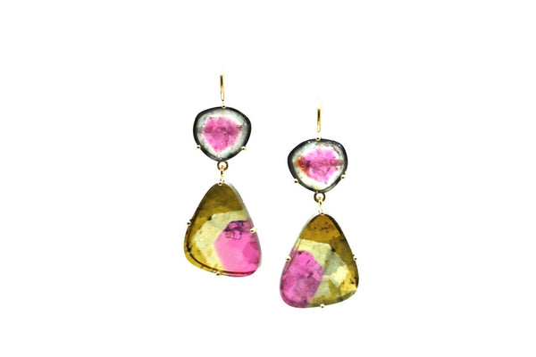 Bicolor Tourmaline Double Dangle in 18k Yellow Gold