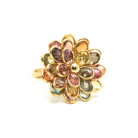 Multicolor Tourmaline Flower Ring in 18k Yellow Gold