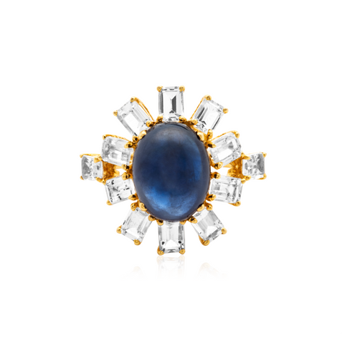 Blue Sapphire & White Topaz Rings in 18k Yellow Gold