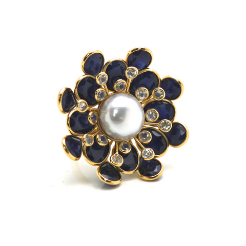 Blue Sapphire, White Sapphire and Pearl Flower Ring in 18k Yellow Gold