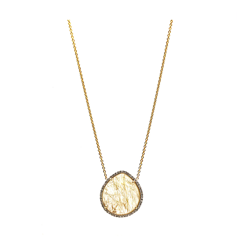 Golden Rutile & Diamond Necklace In 18K Yellow Gold