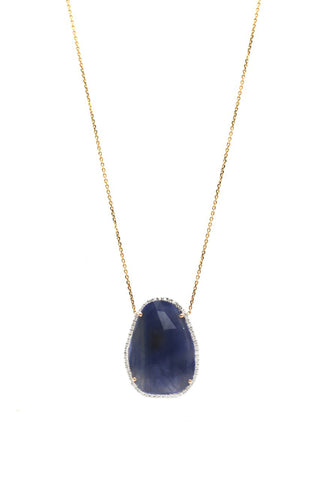 Blue Sapphire & Diamond Necklace In 18K Yellow Gold