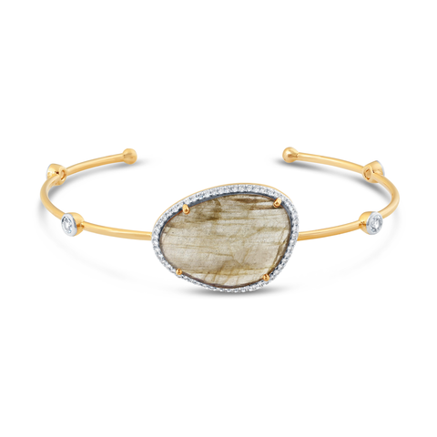 Labradorite Unshape, White Sapphire Round & Diamond Bangle In 18K Yellow Gold