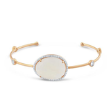 Unshaped Gemstone, White Sapphire & Diamond Bangle in 18k Yellow Gold