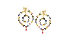 Multicolor Sapphire & Pearl Earrings in 18k Yellow Gold