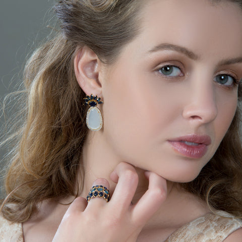 Blue Sapphire, Moonstone and Diamond Earrings in 18k YG