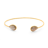Gemstone Pear Shaped Bangle In 18K Yellow Gold