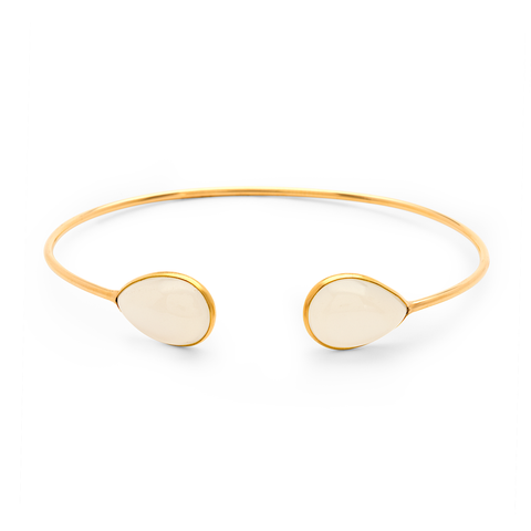 White Moonstone P/S Bangle In 18K Yellow Gold