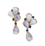 Rainbow Moonstone and Blue Sapphire Earring In 18K Yellow Gold