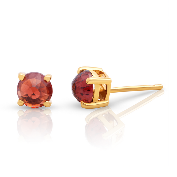 Garnet Stud Earrings in 18K YG