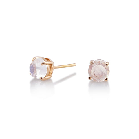Gemstone Round Stud Earrings in 18K Yellow Gold