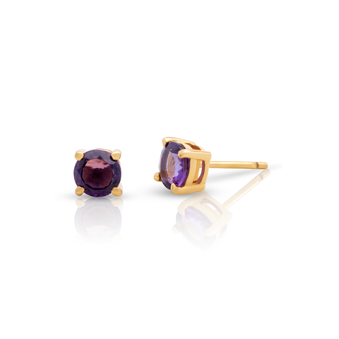 Amethyst Rd. Stud Earrings in 18K YG
