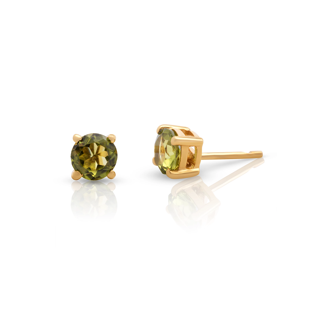 Gemstone Round Faceted Earrings in 18K Yellow Gold