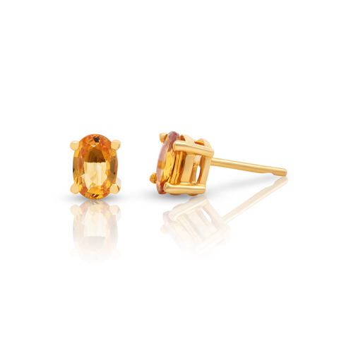 Gemstone Oval Faceted Stud Earrings in 18K Yellow Gold