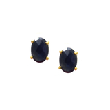Blue Sapphire Oval Stud Earrings in 18K Yellow Gold