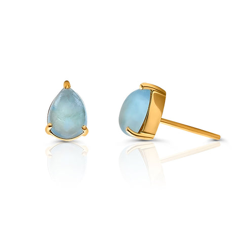 Aquamarine Pear Stud Earrings in 18k YG