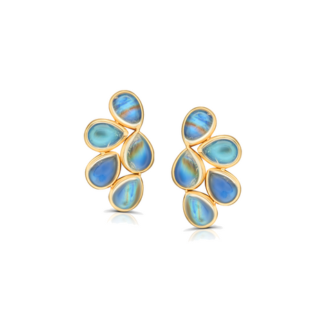 Rainbow Moonstone P/S Earrings in 18K Yellow Gold