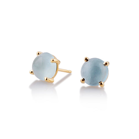 Aquamarine Round Stud Earrings in 18K Yellow Gold