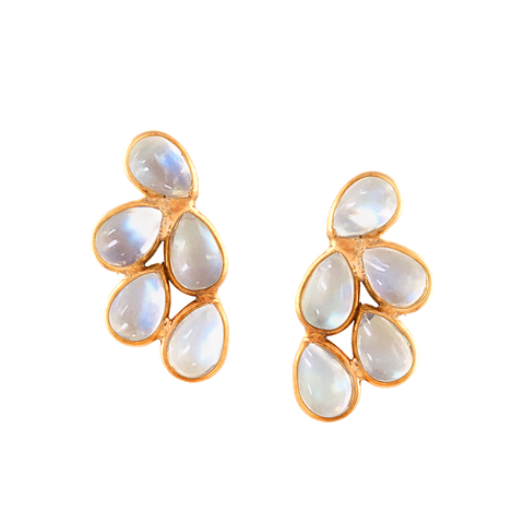 Rainbow Moonstone Pear Shaped Earring in 18K Yellow Gold