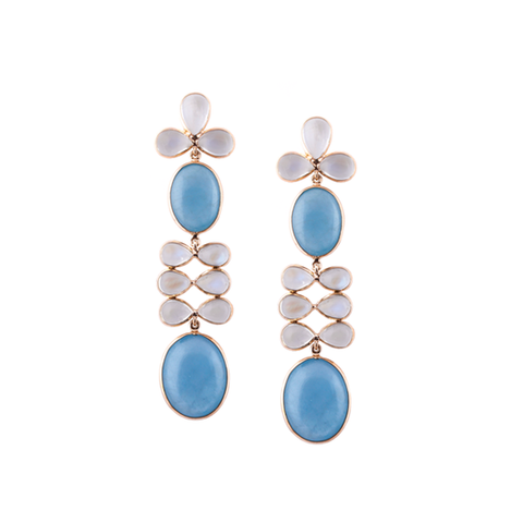 Rainbow Moonstone & Aquamarine  Earrings in 18K YG