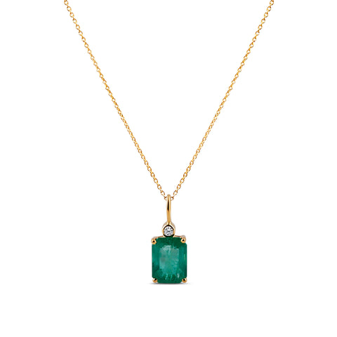 Emerald Rectangle and Diamond Pendant in 18k Yellow Gold