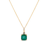 Emerald Square and Diamond Pendant in 18k Yellow