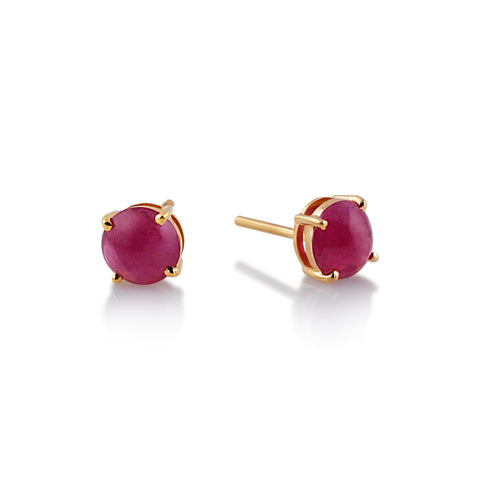Ruby Round Cabochon Stud Earrings in 18K Yellow Gold