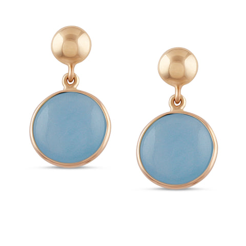 Aquamarine Round Earrings in 18K Yellow Gold