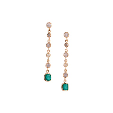 Emerald and Diamond Earrings in 18k Yellow Gold