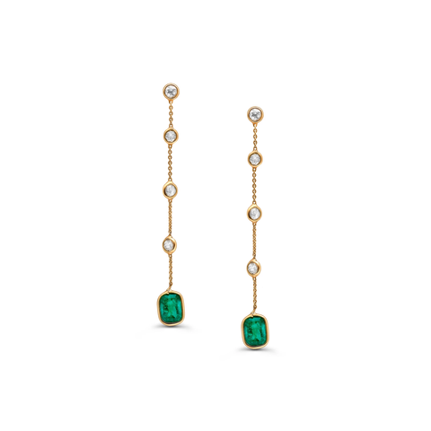 Emerald & Diamond Earring in 18k Yellow Gold