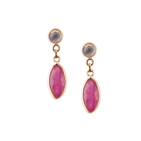 Ruby Marquise & Rainbow Moonstone Round Earrings in 18K Yellow Gold