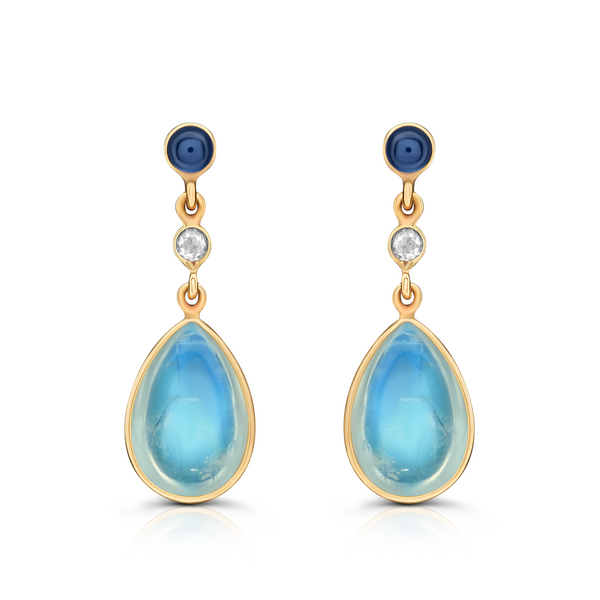 Blue Sapphire, Rainbow Moonstone & Diamond Earring in 18K Yellow Gold