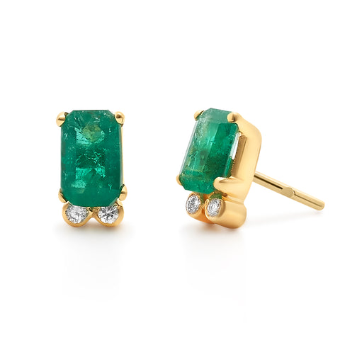 Emerald Rectangle Cut & Diamond Stud Earring in 18K Yellow Gold