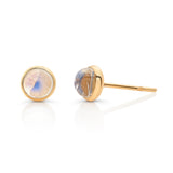 Rainbow Moonstone Rd. Cabochon Stud Earrings in 18K YG
