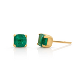 Emerald Square Faceted Stud Earring in 18K Yellow Gold