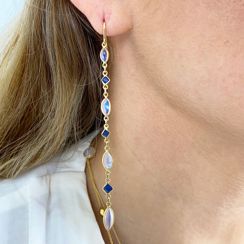 Blue Sapphire Square & Rainbow Moonstone Marquise Earring in 18K Yellow Gold